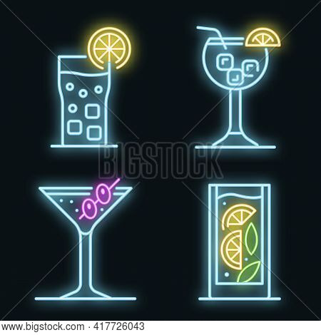Cocktail Icons Set. Outline Set Of Cocktail Vector Icons Neon Color On Black