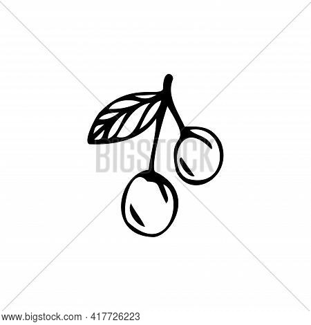 Single Hand Drawn Cherry Berry Isolated On A White Background. Doodle, Simple Outline Illustration.