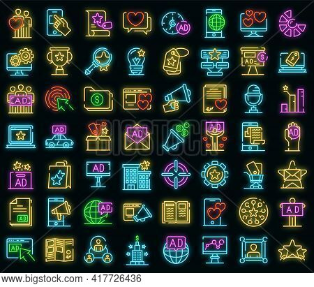 Advertising Agency Icons Set. Outline Set Of Advertising Agency Vector Icons Neon Color On Black