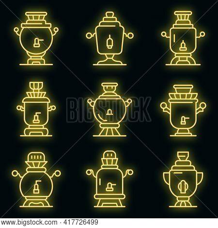 Samovar Icons Set. Outline Set Of Samovar Vector Icons Neon Color On Black