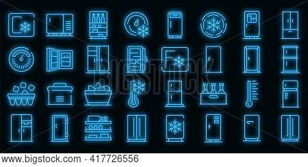 Fridge Icons Set. Outline Set Of Fridge Vector Icons Neon Color On Black