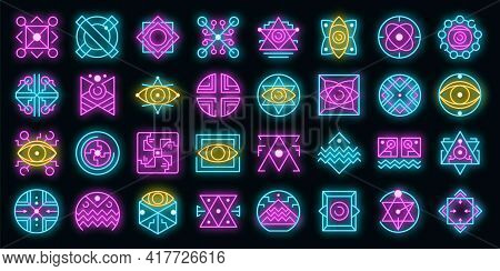 Alchemy Icons Set. Outline Set Of Alchemy Vector Icons Neon Color On Black