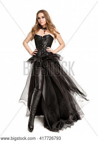 Beautiful Gothic Woman In Black Leather Costume, Wearing Latex Pants, Chiffon Dress, Black Corset Cu