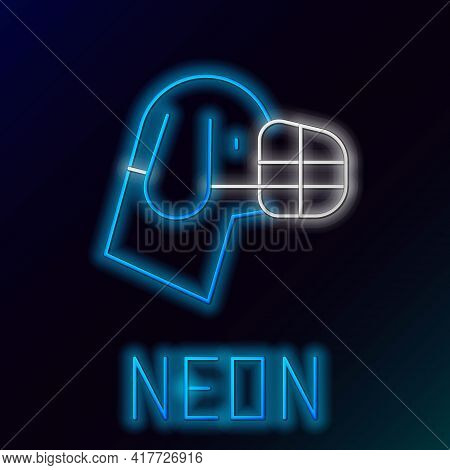 Glowing Neon Line Dog In Muzzle Icon Isolated On Black Background. Accessory For Dog. Colorful Outli