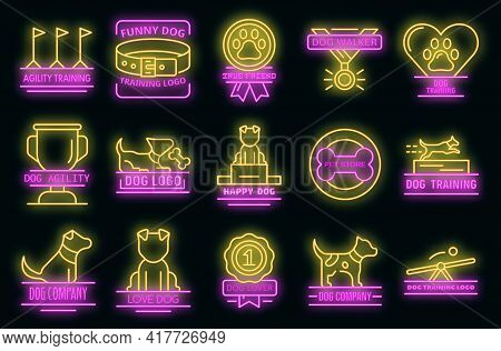 Dog Training Icons Set. Outline Set Of Dog Training Vector Icons Neon Color On Black