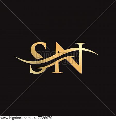 Initial Sn Letter Linked Logo Vector Template. Swoosh Letter Sn Logo Design. Sn Logo Design Vector