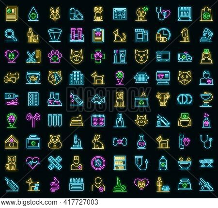 Veterinarian Icons Set. Outline Set Of Veterinarian Vector Icons Neon Color On Black