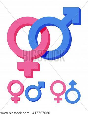 Pink And Blue Gender Symbol Isolated On White. Feminine And Masculine Signs. Male, Female, Boy, Girl