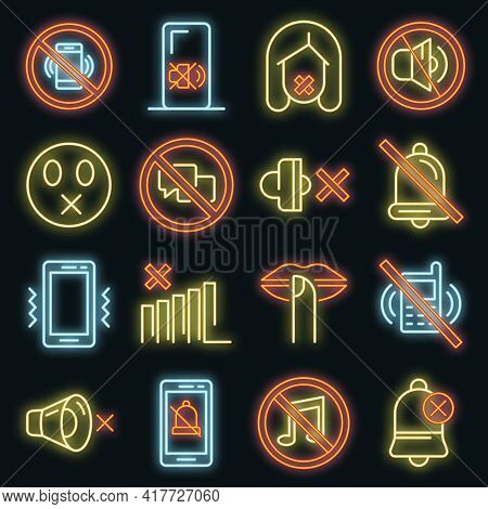 Silence Icons Set. Outline Set Of Silence Vector Icons Neon Color On Black