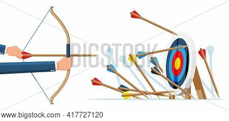 Many Arrows Missed Target Mark. Multiple Failed Inaccurate Attempts Arrows To Hit Target. Business C