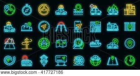 Car Trip Icons Set. Outline Set Of Car Trip Vector Icons Neon Color On Black