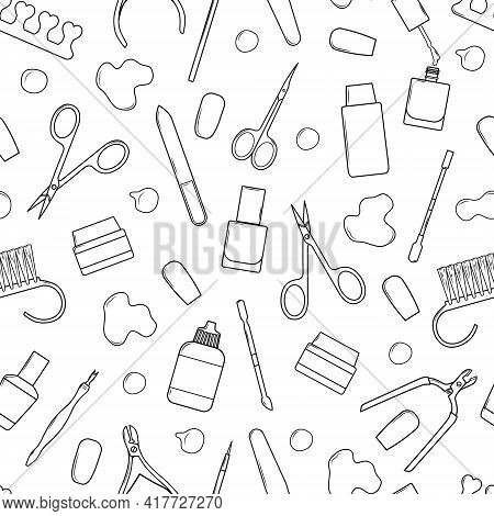 Vector Seamless Pattern With Nail Scissors, Nail File, Nail Polish, Cream, Cuticle Clippers . On A W