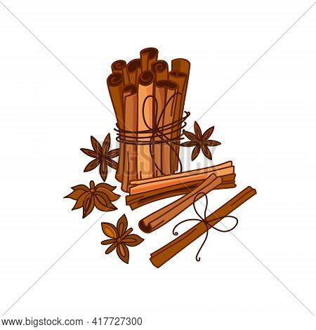 Cinnamon Sticks On A White Background. Aromatic Spice. Seasoning For Dishes. Culinary Theme. Vector