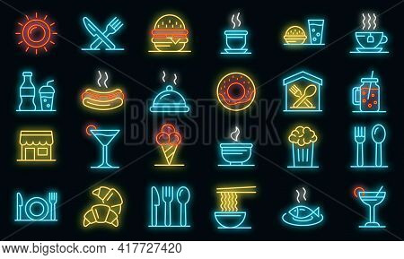Food Courts Icons Set. Outline Set Of Food Courts Vector Icons Neon Color On Black