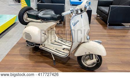 Bordeaux , Aquitaine France - 04 15 2021 : Vespa Vintage Retro Scooter White In Sixties Concept Park