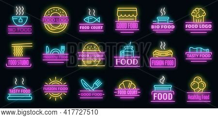 Food Courts Breakfast Logo Set. Outline Set Of Food Courts Breakfast Vector Logo Neon Color On Black