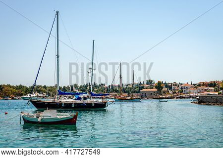 The Port And The Old Shipyard In Spetses, Greece. Spetches Is A Picturesque Small Island In Saronic