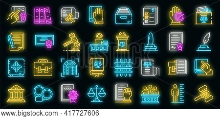 Legislation Icons Set. Outline Set Of Legislation Vector Icons Neon Color On Black