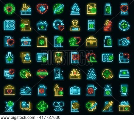 Pharmacist Icons Set. Outline Set Of Pharmacist Vector Icons Neon Color On Black