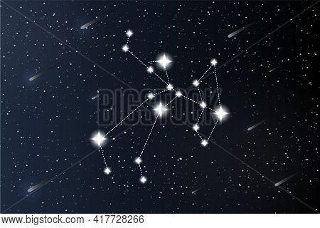 Sagittarius. Zodiac Constellation On Outer Space Background. Mystery And Esoteric. Horoscope Vector