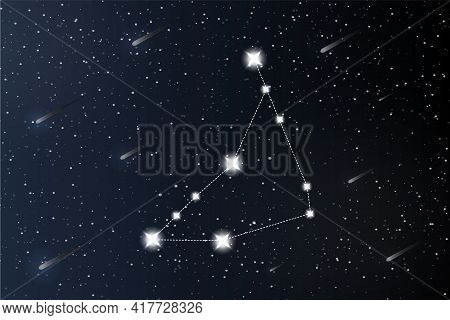 Capricorn. Zodiac Constellation On Outer Space Background. Mystery And Esoteric. Horoscope Vector Il
