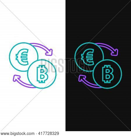 Line Cryptocurrency Exchange Icon Isolated On White And Black Background. Bitcoin To Euro Exchange I
