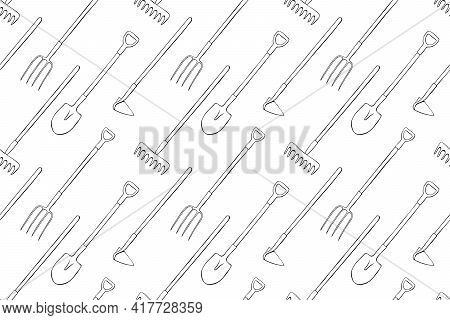 Seamless Pattern With Garden Equipments: Shovels, Spades, Rakes, Hoes, Pitchforks. Vector Background
