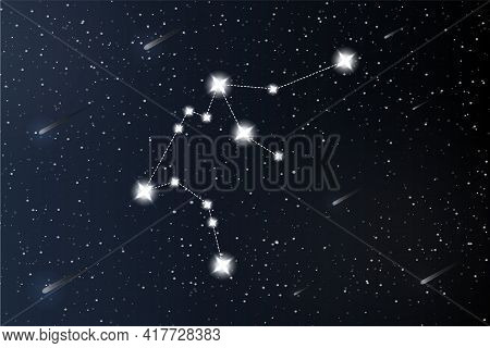 Aquarius. Zodiac Constellation On Outer Space Background. Mystery And Esoteric. Horoscope Vector Ill