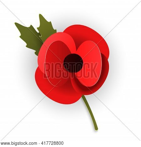 Remembrance Poppy Appeal In Paper Cut Style. Modern Origami Design Red Flower Isolated On White Back