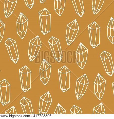 Magic Seamless Pattern With Magical Crystal. Trendy Witchcraft Symbol Gem On Gold Background. Mystic