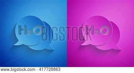 Paper Cut Chemical Formula For Water Drops H2o Shaped Icon Isolated On Blue And Purple Background. P
