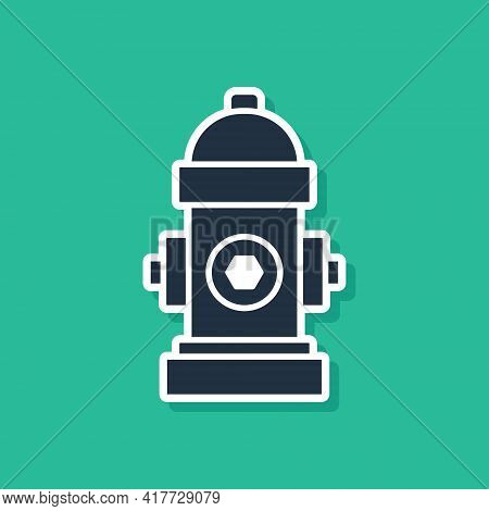 Blue Fire Hydrant Icon Isolated On Green Background. Vector