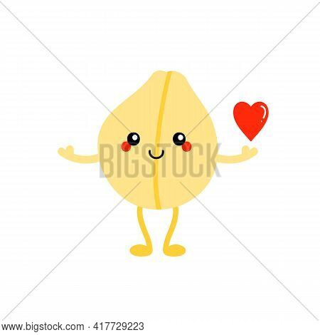 Cute Cartoon Style Smiling Chickpea, Chick Pea Seed Character Holding In Hand Red Heart. Love And Ap