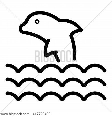 Ocean Dolphin Icon. Outline Ocean Dolphin Vector Icon For Web Design Isolated On White Background
