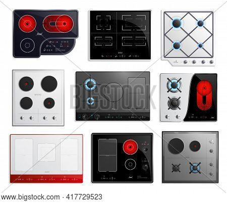 Colored And Realistic Hob Surfaces Icon Set With Different Types Of Hob Sizes And Power Vector Illus