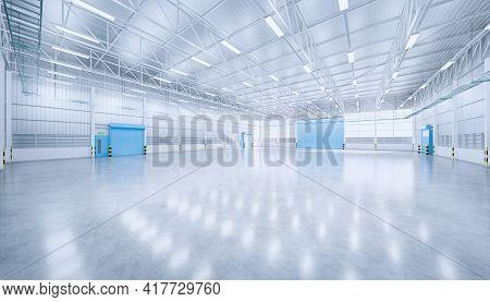3d Rendering Of Hangar Or Industrial Building. Protection With Security Door, Roller Door Or Roller