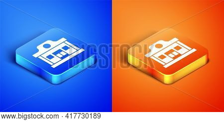 Isometric Wild West Saloon Icon Isolated On Blue And Orange Background. Old West Building. Square Bu
