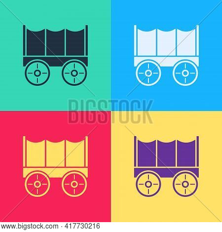 Pop Art Wild West Covered Wagon Icon Isolated On Color Background. Vector