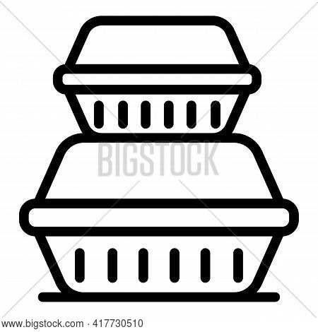 Lunch Boxes Icon. Outline Lunch Boxes Vector Icon For Web Design Isolated On White Background