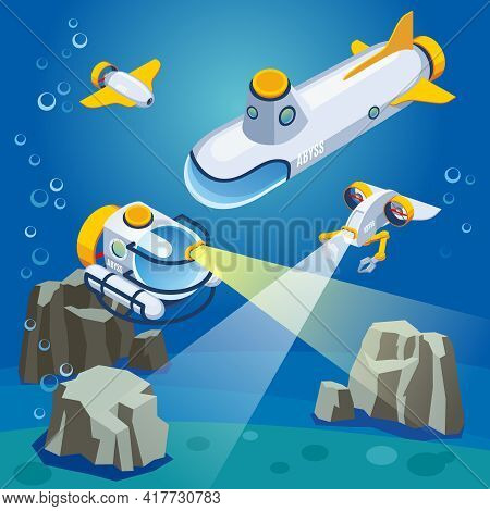 Underwater Vehicles Including Unmanned Equipment And Submarine, Composition On Blue Background Isome
