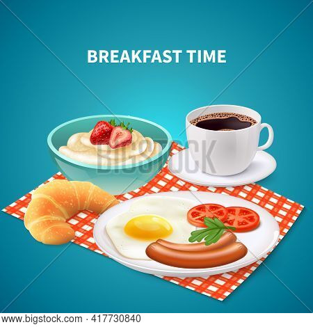 Realistic Breakfast Time Background With Porridge Eggs Sausages Croissant And Coffee On Checked Napk