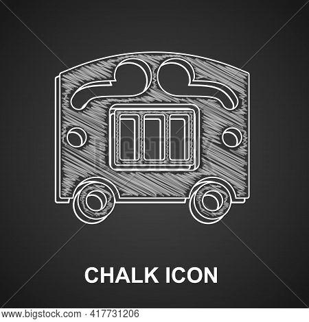 Chalk Circus Wagon Icon Isolated On Black Background. Circus Trailer, Wagon Wheel. Vector