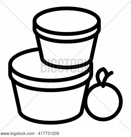 Lunch Container Icon. Outline Lunch Container Vector Icon For Web Design Isolated On White Backgroun