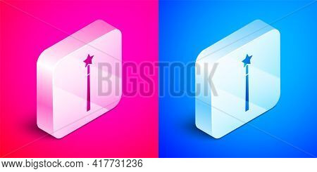 Isometric Magic Wand Icon Isolated On Pink And Blue Background. Star Shape Magic Accessory. Magical