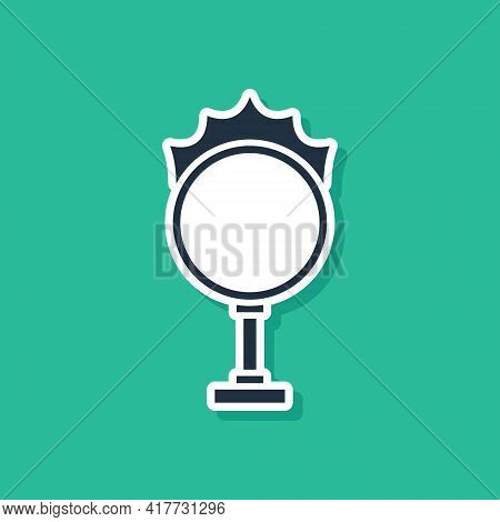 Blue Circus Fire Hoop Icon Isolated On Green Background. Ring Of Fire Flame. Round Fiery Frame. Vect