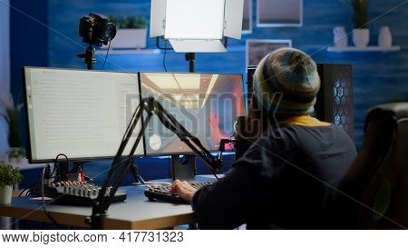 Streamer Coming In Gaming Room Playing Videogames
