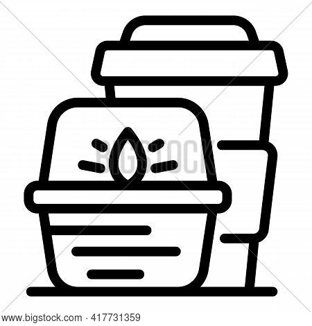 Takeout Hot Food Icon. Outline Takeout Hot Food Vector Icon For Web Design Isolated On White Backgro