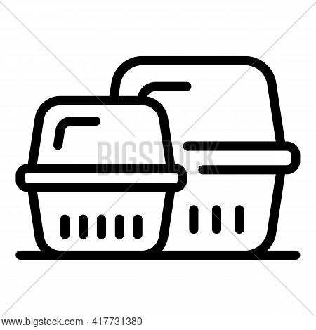 Takeout Containers Icon. Outline Takeout Containers Vector Icon For Web Design Isolated On White Bac
