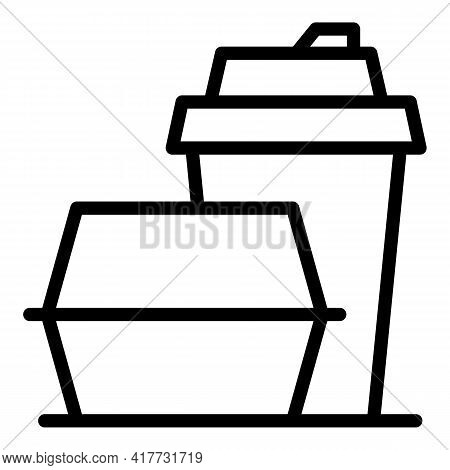 Lunch To Go Icon. Outline Lunch To Go Vector Icon For Web Design Isolated On White Background