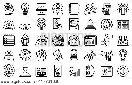 Human Resources Icons Set. Outline Set Of Human Resources Vector Icons For Web Design Isolated On Wh